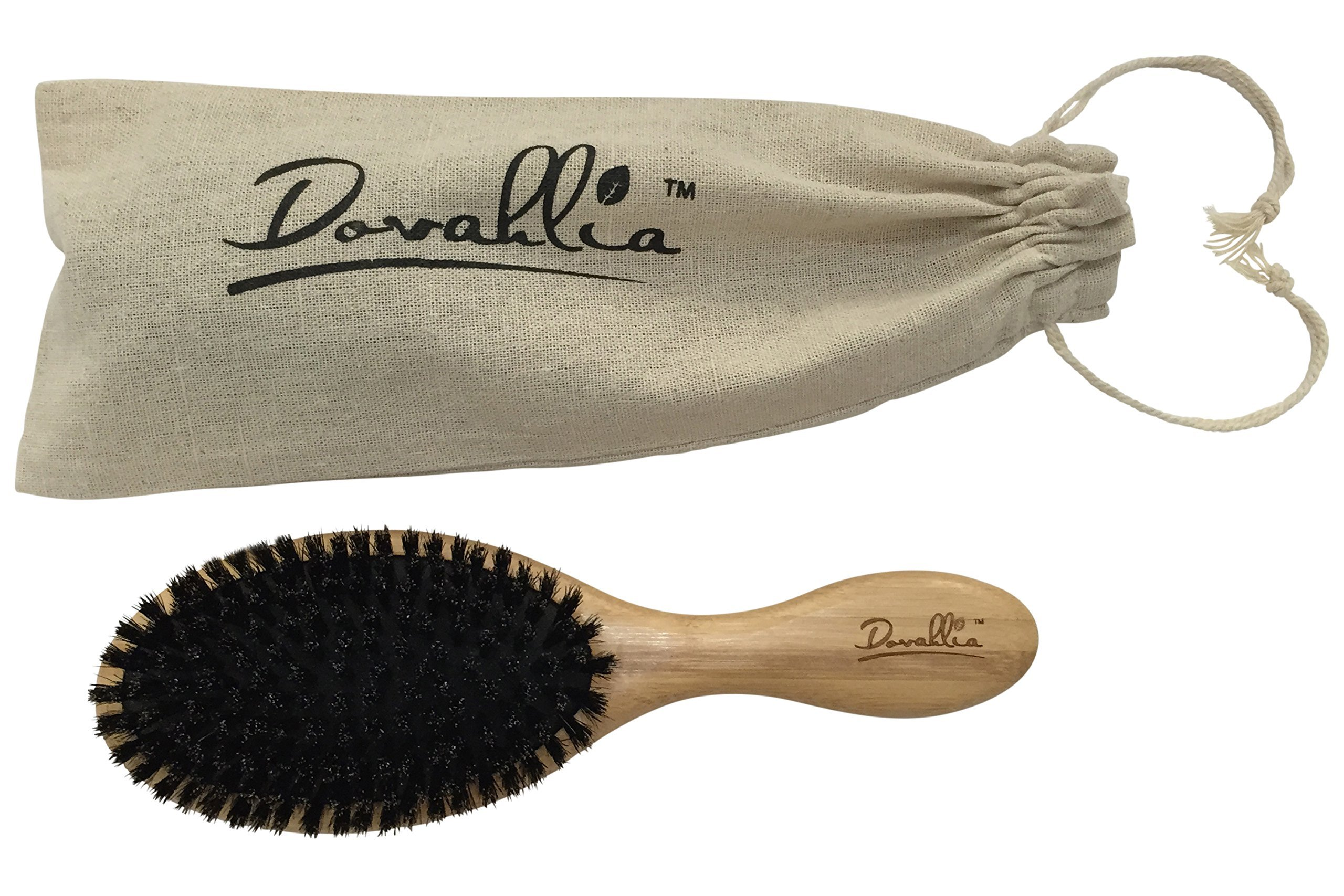 Boar Bristle Hair Brush Set for Women and Men - Designed for Thin and Normal Hair - Adds Shine and Improves Hair Texture - Wood Comb and Gift Bag Included (black) by Dovahlia (Image #7)