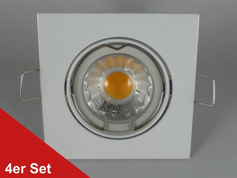 Saturn, de colour blanco de empotrar - de 5 W COB-LED, 450 lúmenes, luz blanca cálida de foco empotrable 230 V - 4er Set