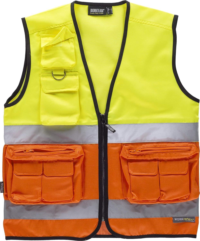 Work Team Chaleco Multibolsillos de Alta Visibilidad con Cintas Reflectantes.EN ISO 20471:2013 Hombre