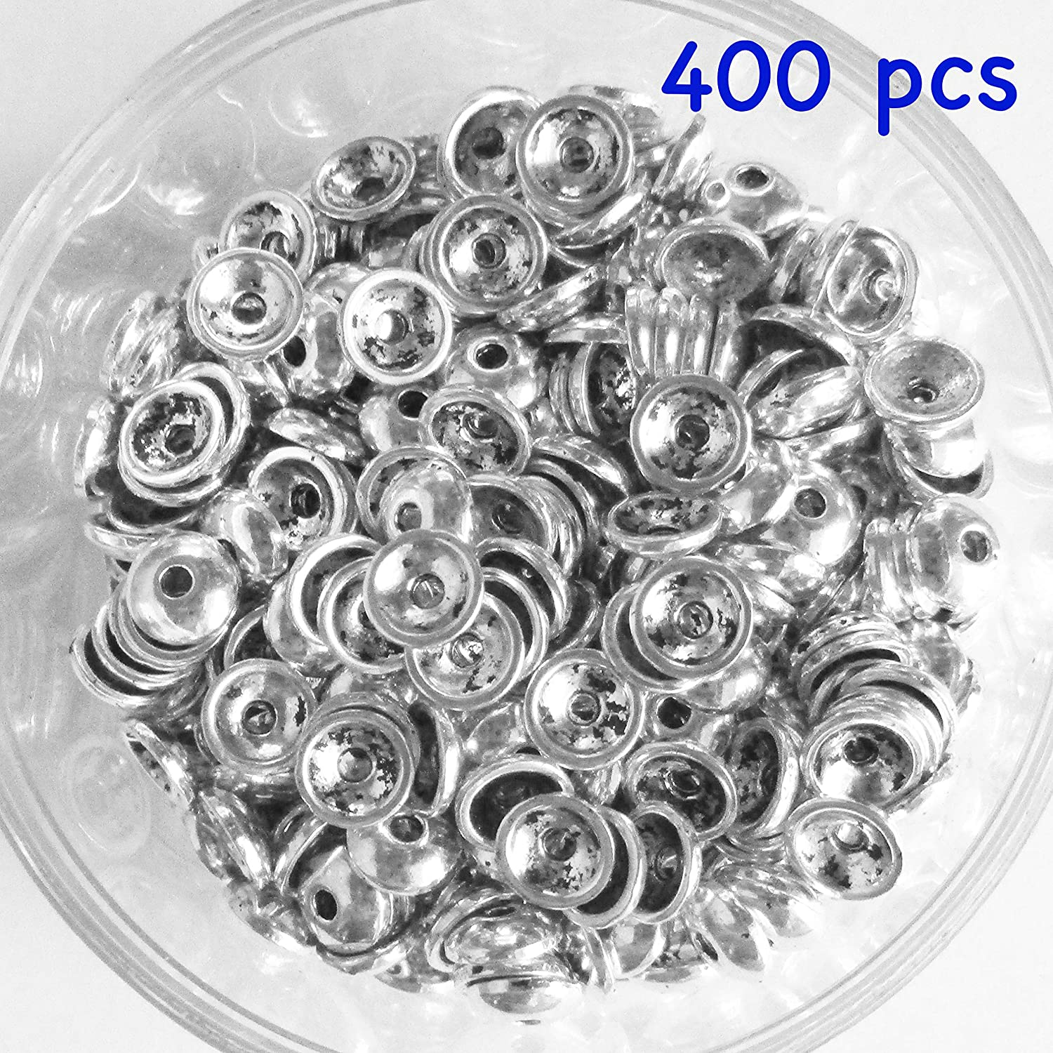 Jewelry Making Heathers cf 100 Pieces Silver Tone Smooth Beads Caps Findings Fit 6-8mm Round Beads