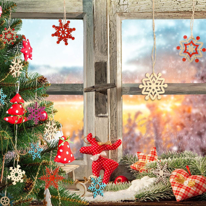 Blulu 100 Piezas Copo de Nieve de Madera de Navidad Adornos de Copos de Nieve Ahuecados Adornos Colgantes de /Árboles de Navidad con Cuerda para Arte Decoraci/ón de Navidad