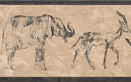 Sketch Elephant Deer Leopard Beige Wallpaper Border Retro Design
