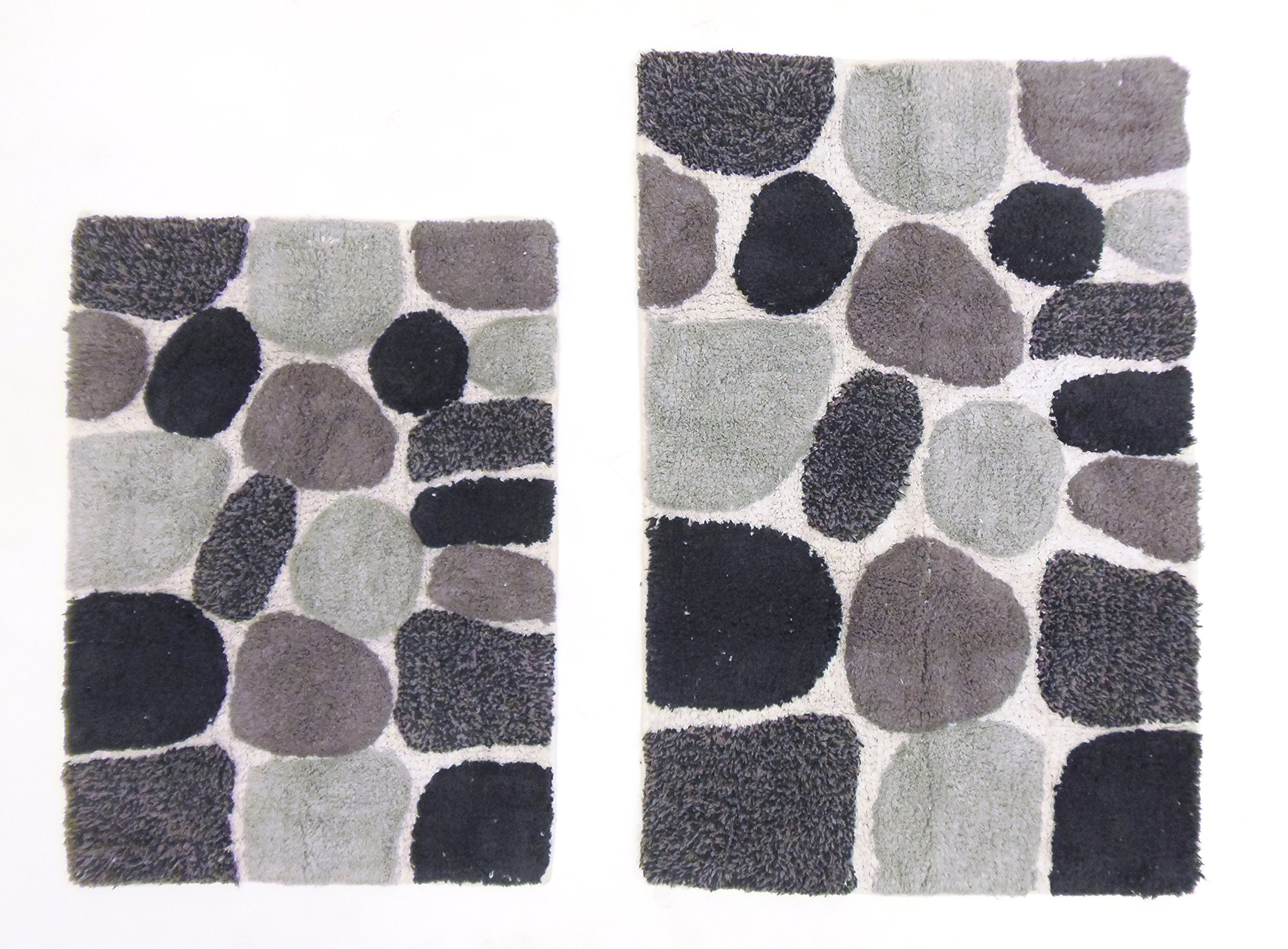 Cotton Craft - 2 Piece Bath Rug Set - Pebbles Stones with Spray Latex Back - Grey Multi - 100% Pure Cotton and absorbent - Super Soft and Plush - Hand Tufted Heavy Weight Durable Construction - Larger Rug is 21x32 Oblong and Second Rug is Oblong 18x24 - E
