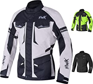 Adventure/Touring Motorcycle Jacket For Men Textile Motorbike CE Armored Waterproof Jackets ADV 4-Season (Light Grey, L)
