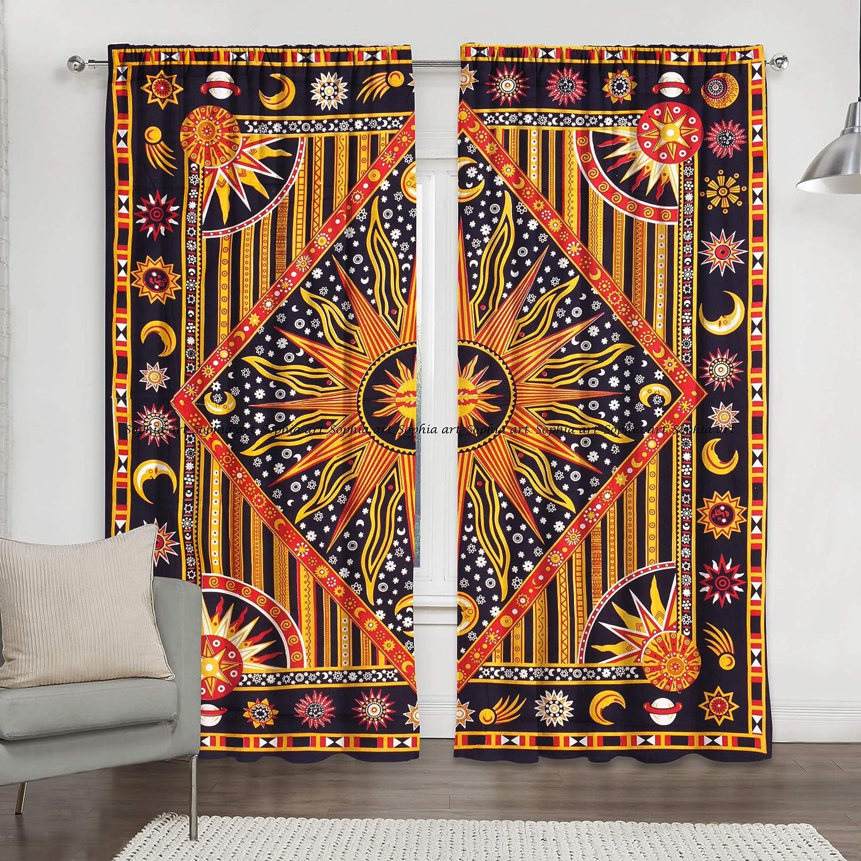 Sophia Art Color Dorado Cortinas para Ventana con dise/ño de Mandala y Sol