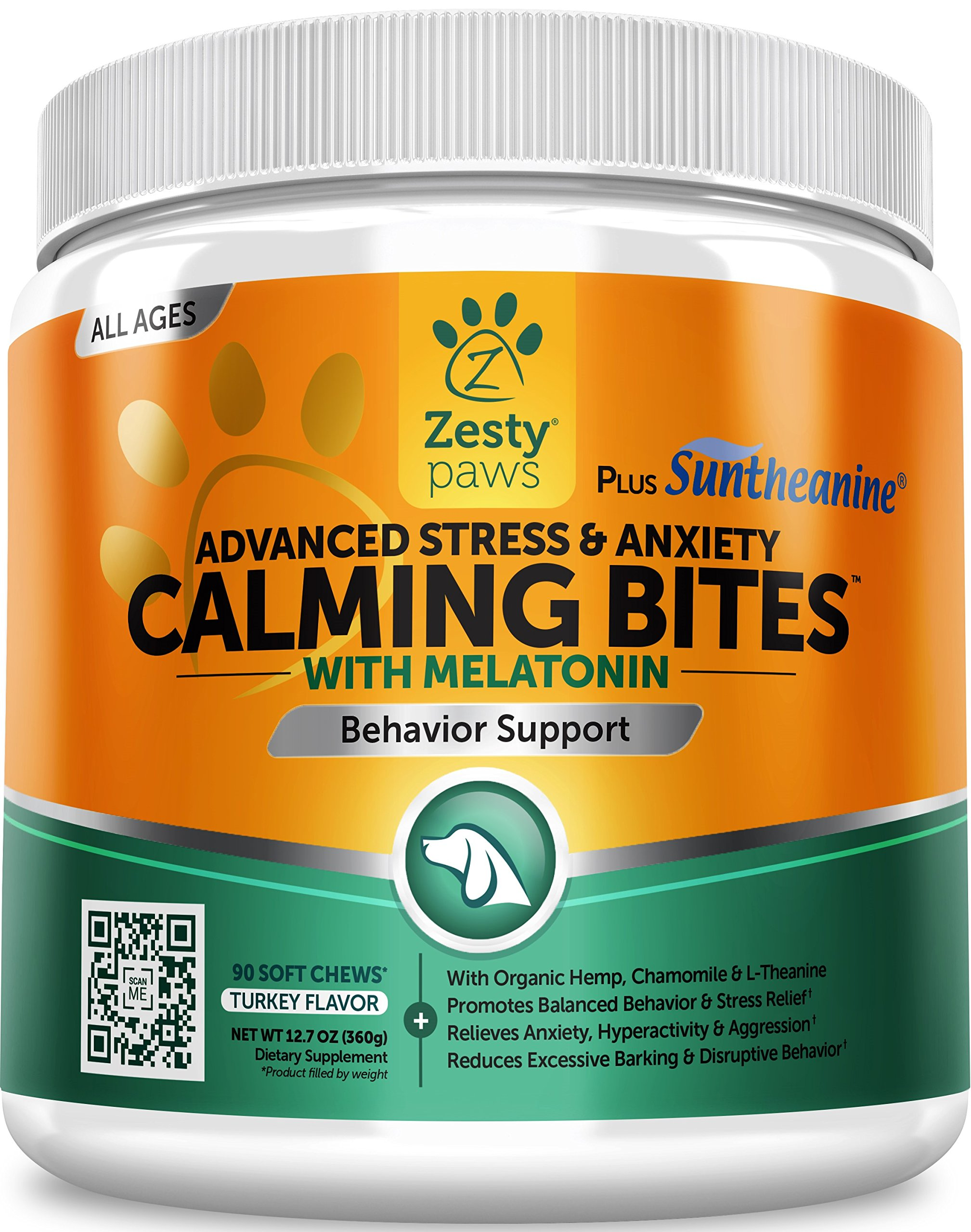 Zesty Paws Advanced Calming Soft Chews for Dogs - with Suntheanine & Melatonin - Anxiety Composure Aid with L Tryptophan for Dog Stress Relief - for Storms + Barking & Chewing - 90 Chew Treats