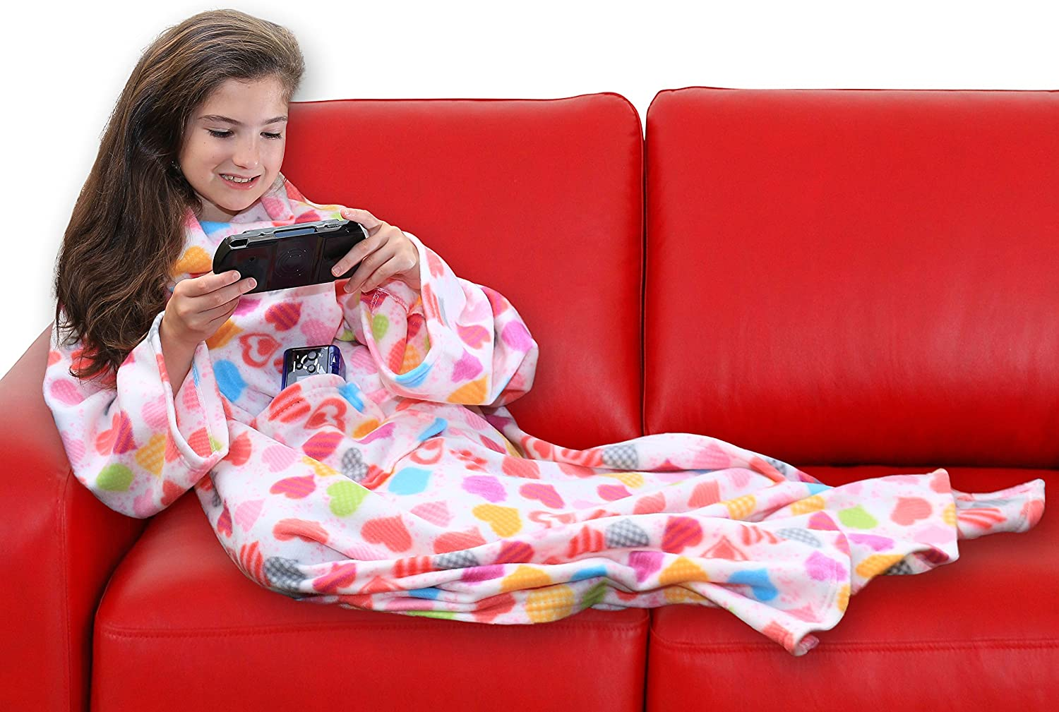 Luxuriously Soft /& Non-Irritating Fabric Hearts DG SPORTS Wearable Fleece Blanket for Kids with Sleeves and Pockets Machine Washable Cute Snuggle Couch Throw Cozy Cover for Boys and Girls