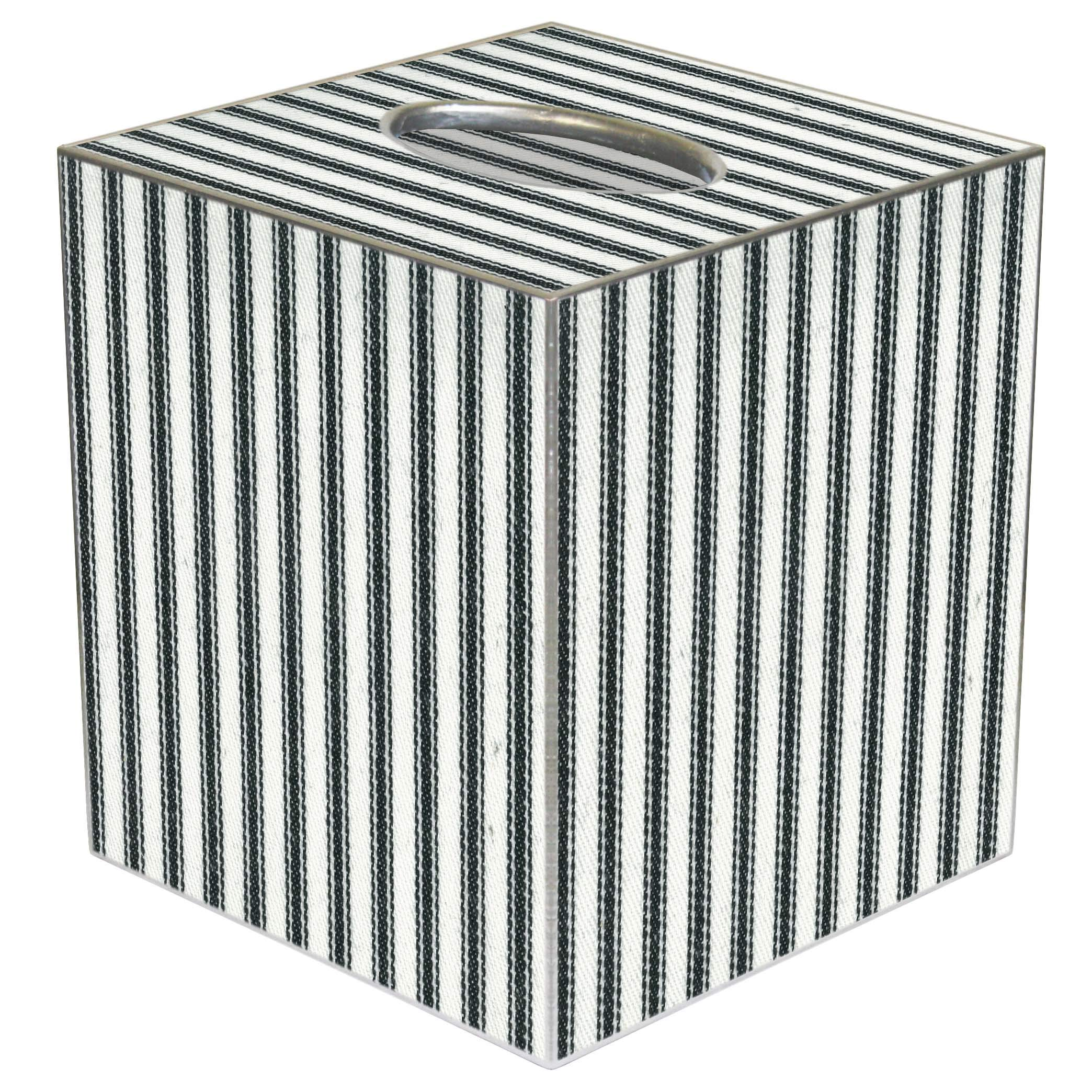Tissue Box Cover Tissue Holder Square Cube Farmhouse Bathroom Decor Rustic Bathroom Decor Beach Decor Black Ticking Stripe 5'' x 5'' Fits Most