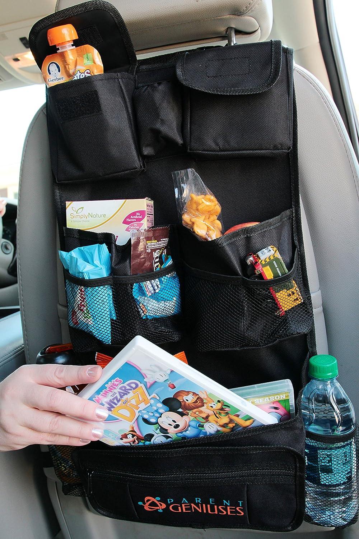Organizador prémium para asientos traseros diseñados para viajar con niños. Organizador para asientos traseros diseñado de Parent Geniuses.
