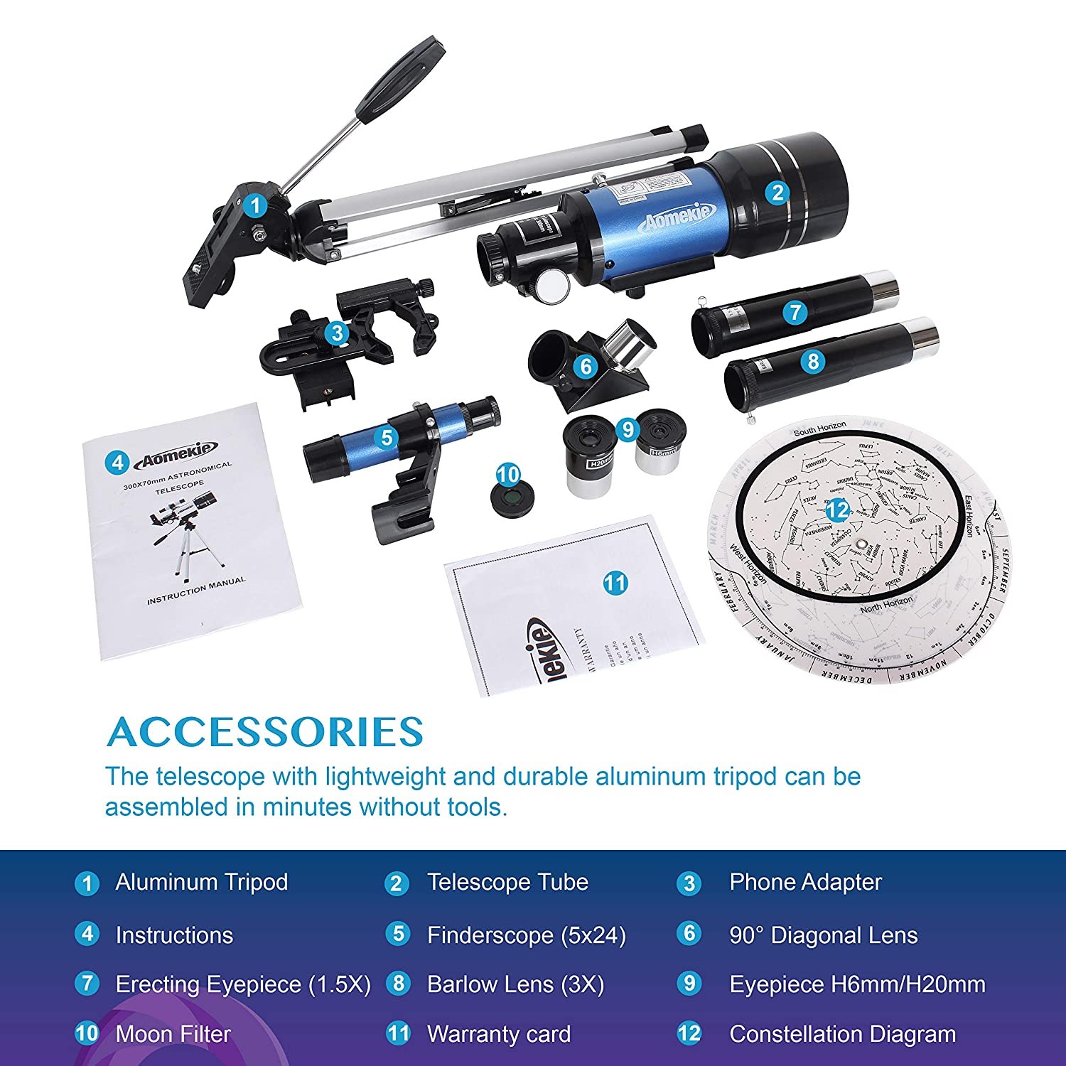 Aomekie Telescope for Kids Beginners 70mm Astronomical Telescope with Phone Adapter Barlow Erecting Eyepiece and Moon Filter for Moon Star Gazing