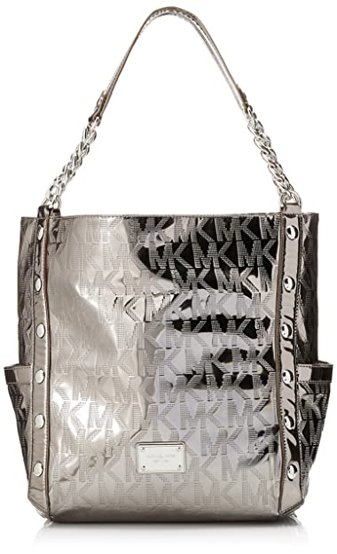 26322a395da4 Amazon.com: Michael Kors Delancy Metallic Nickel Large Satchel: Shoes