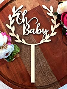 Oh Baby Cake Topper Baby Shower Oh Baby Cake Topper Rustic Wood Cake Topper for Baby Shower or Baby Birthday Cake Topper 1st Birthday Smash Cake Topper Birthday Decor Wood Cake Topper wreath