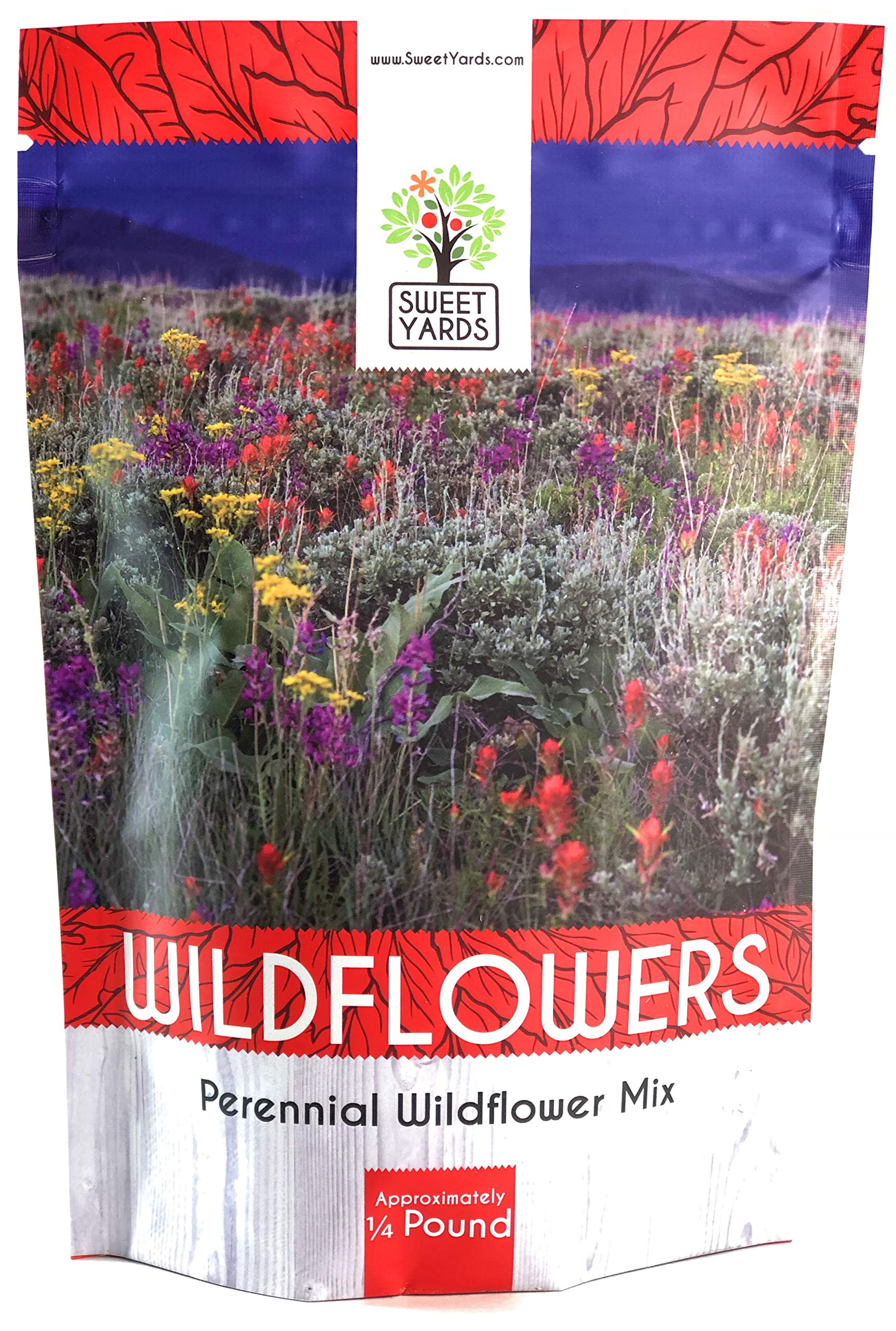 Perennial Wildflower Seeds Mixture - Bulk 1/4 Pound Bag - Over 60,000 Pure Live Seed - Open Pollinated and Non GMO