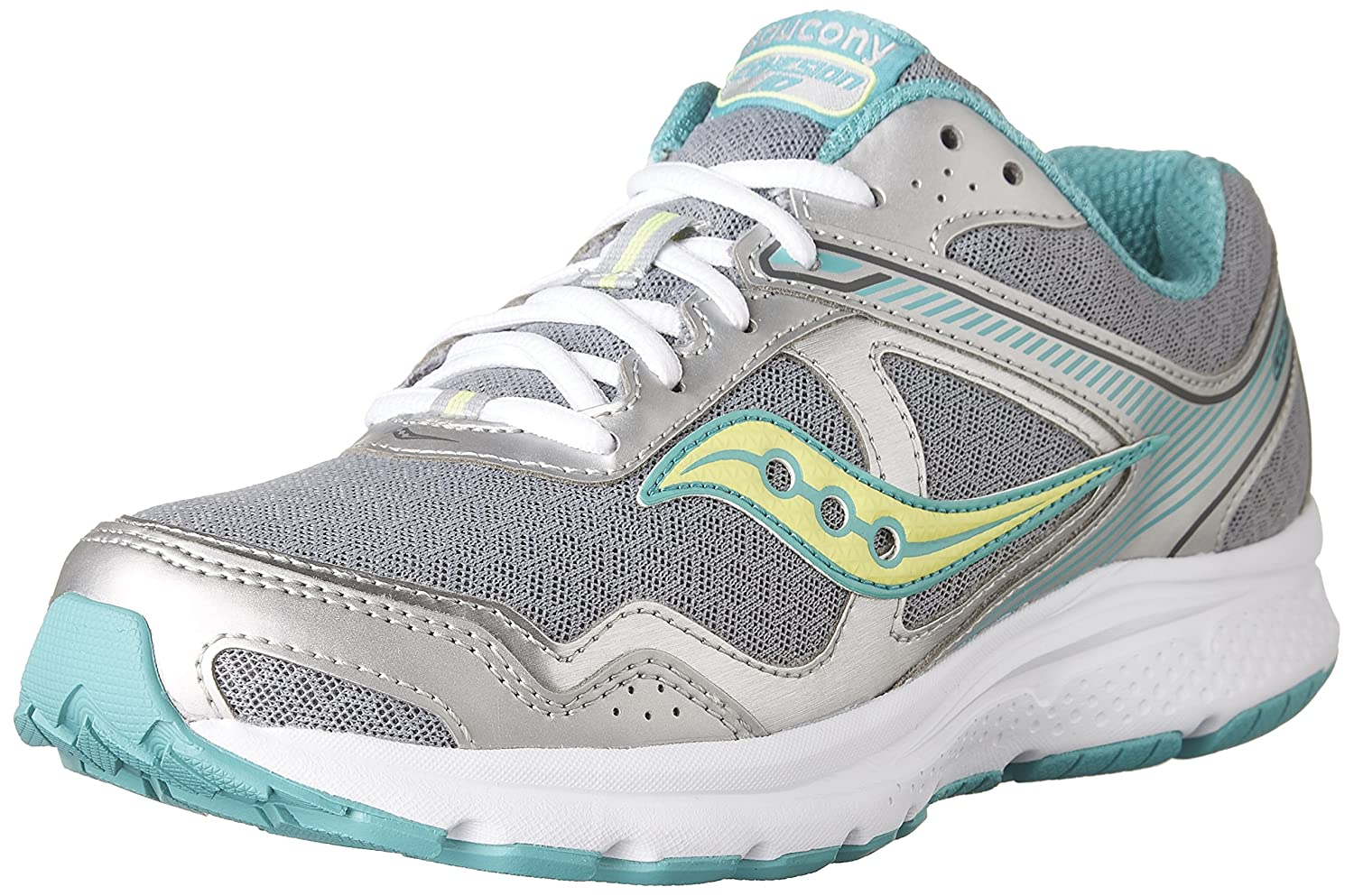 Saucony Women's Cohesion 10 Running Shoe B01HPGJ8KY 9.5 D - Wide|Grey | Teal | Citron