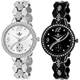 Swisso Exclusive Studded Notable Series Analogue Black and White Dial Women's Watch - Swisso-8041-Blk-Wht(Pack of 2)