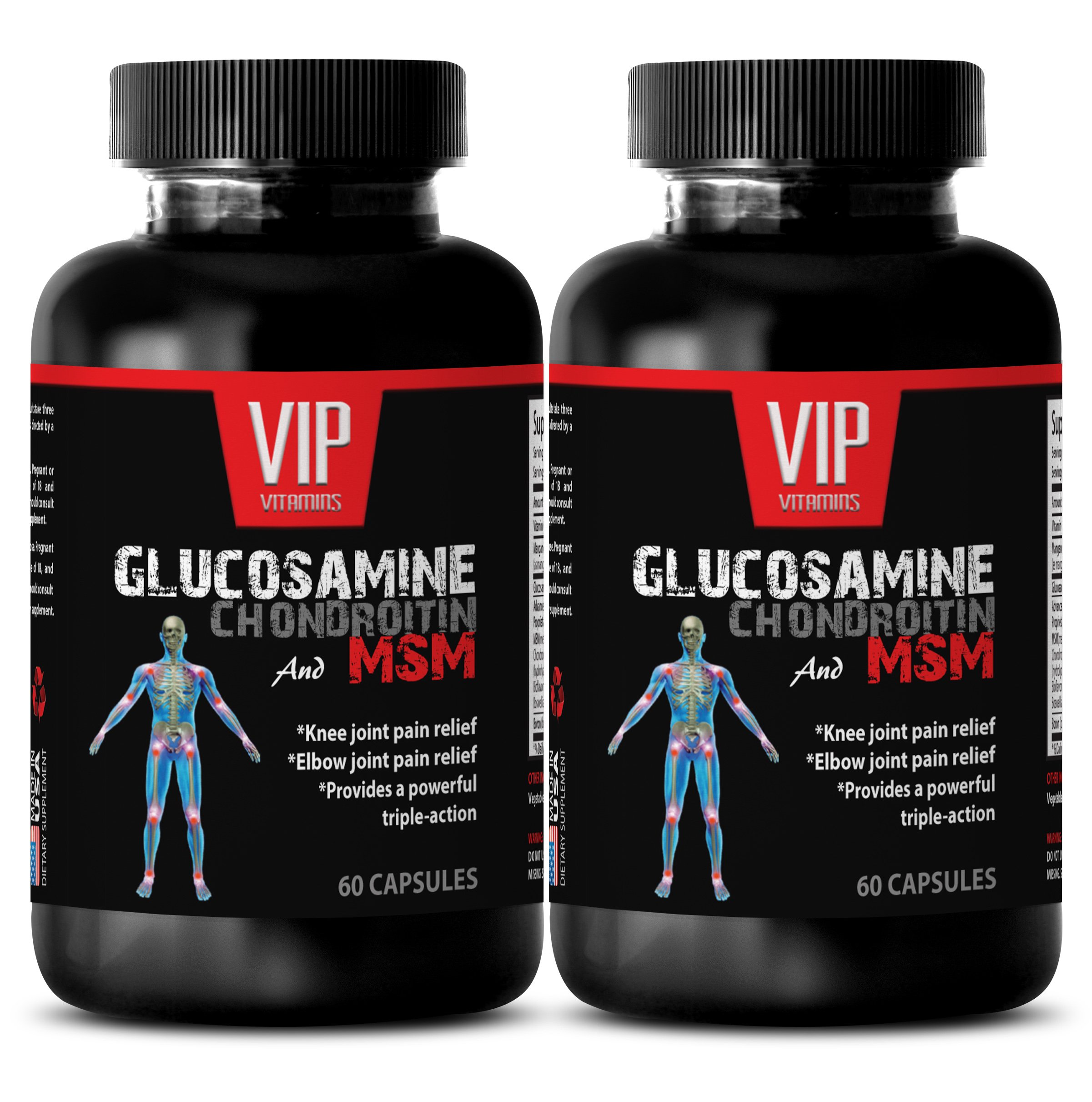 immune support dietary supplement - GLUCOSAMINE CHONDROITIN & MSM 3200MG - msm tablets - 2 Bottles 120 Capsules