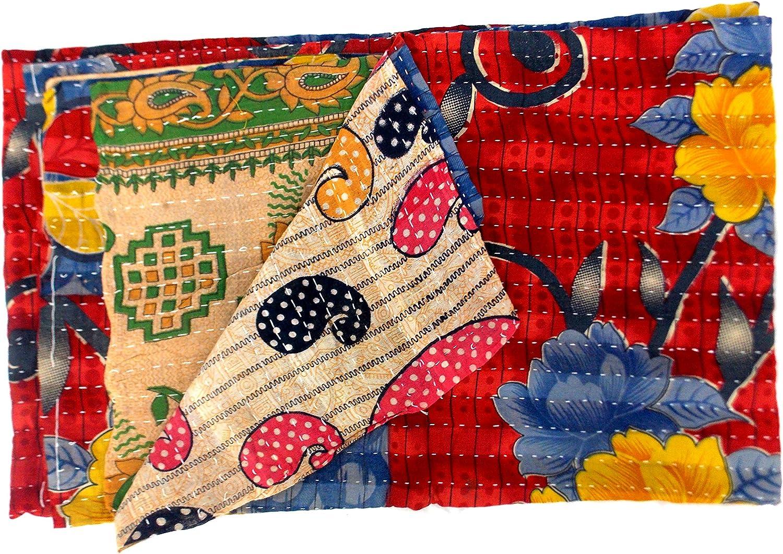 Paisley Design Indian Handmade Gudri Kantha Quilt Throw Bedspread Reversible Vintage Cotton Quilt Multicolor Jaipuri Gudri