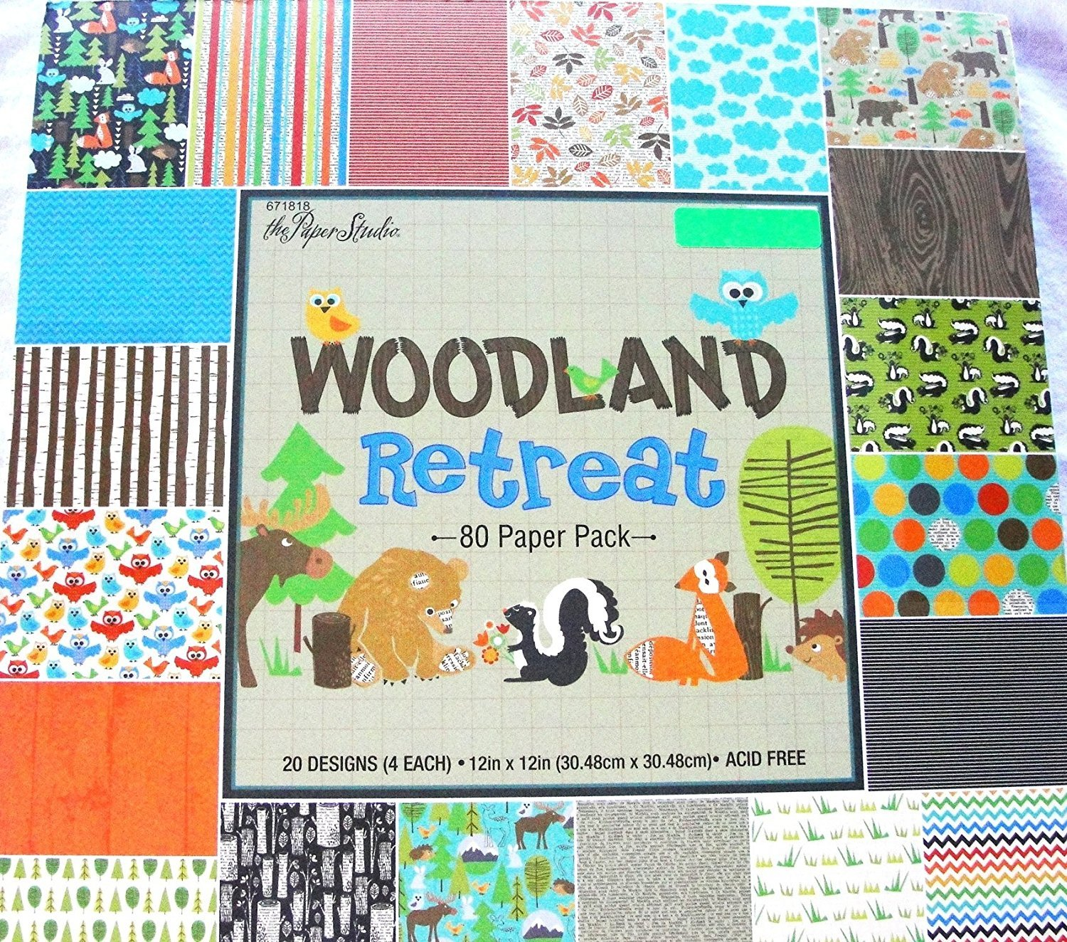 Woodland Retreat 12x12 Scrapbooking Paper Pack, Fox, Moose, Bear, Skunk, Owl, Trees etc. 80 sheets by Paper Studio B00WR8K4OK