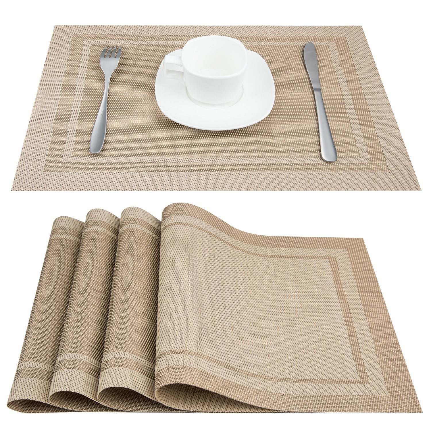 Artand Placemats, Heat-resistant Placemats Stain Resistant Anti-skid Washable PVC Table Mats Woven Vinyl Placemats, Set of 4 (Beige) by Artand