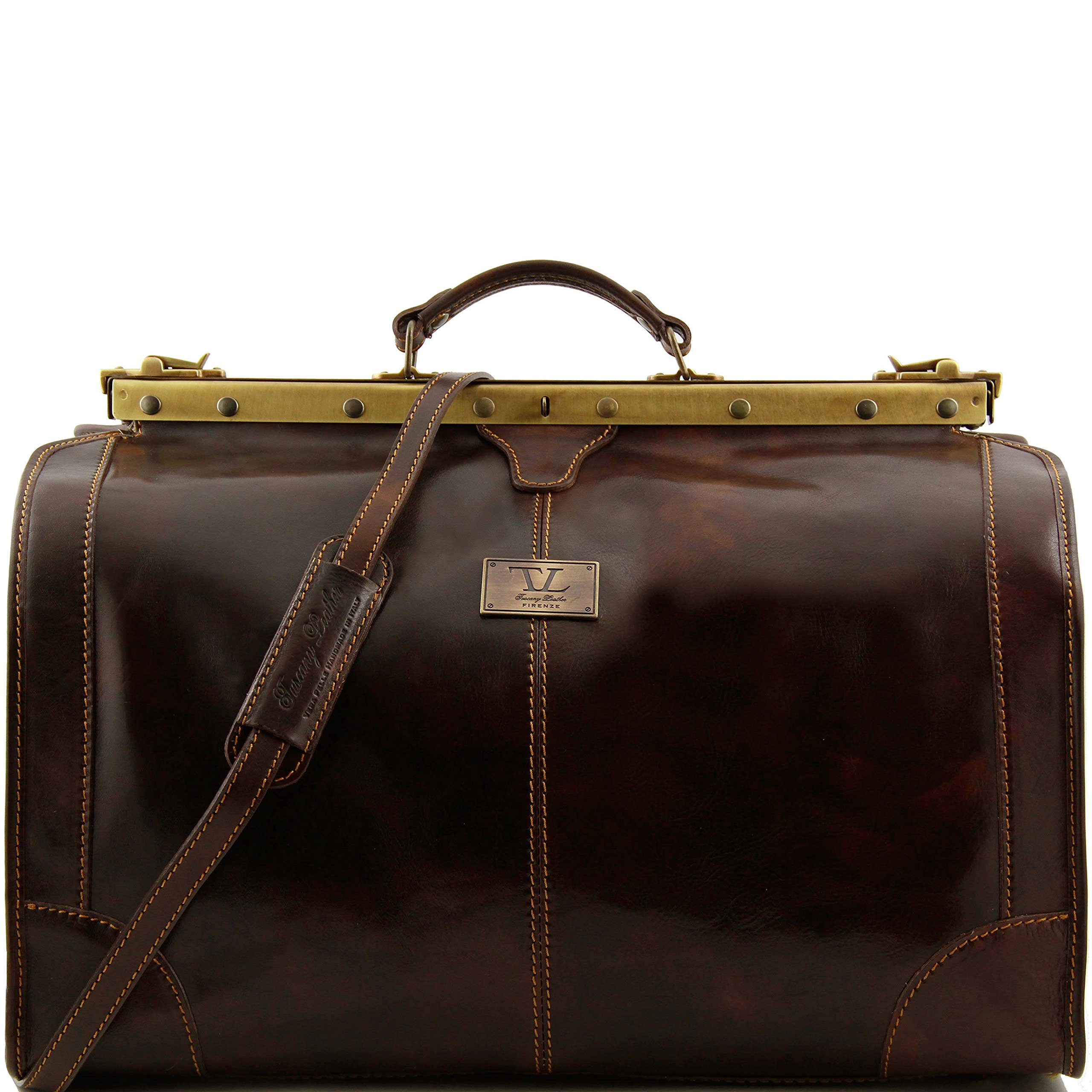 Tuscany Leather Madrid Gladstone Leather Bag - Large size Dark Brown