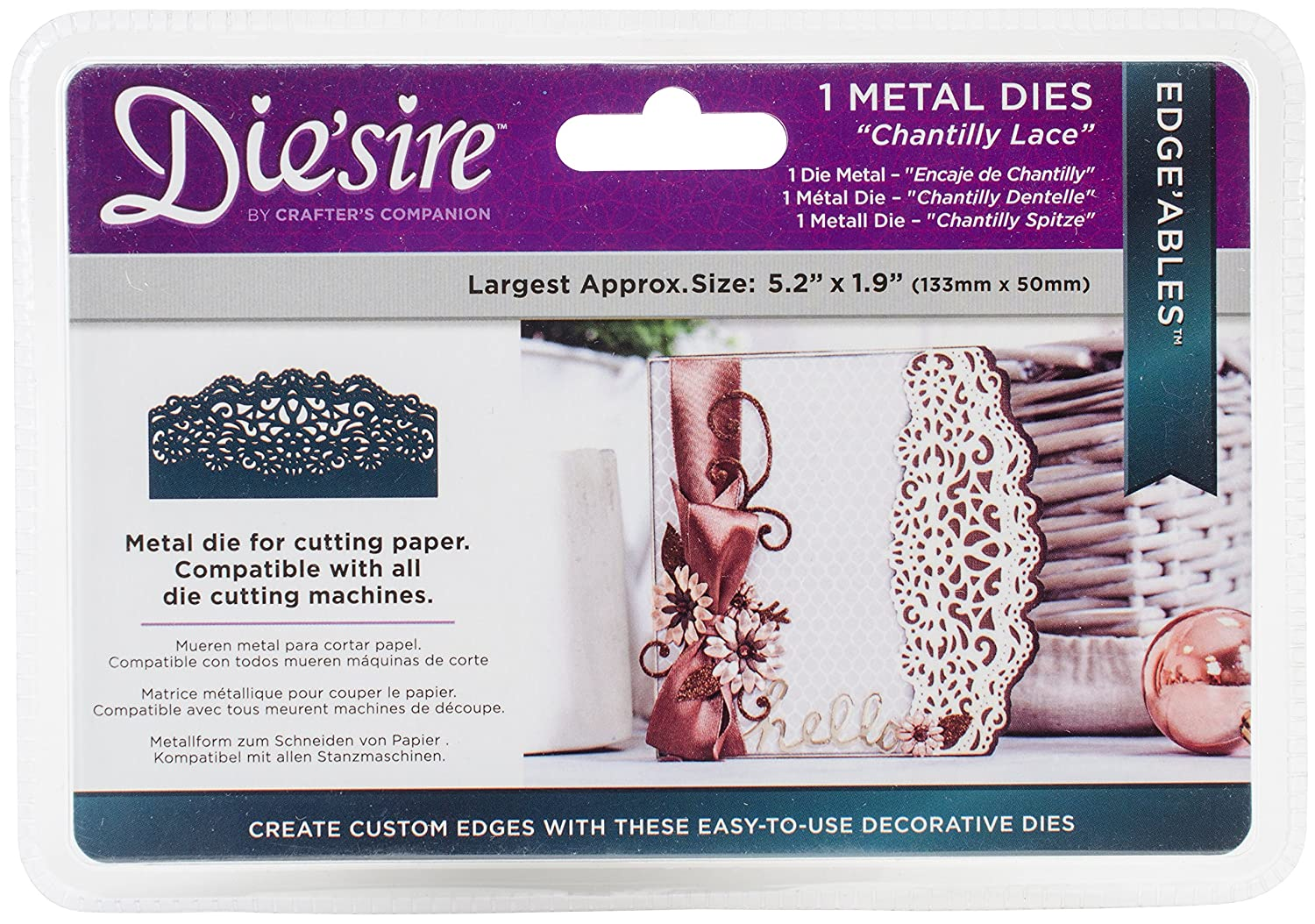 Die 'sireEdgeables chantilly Lace metal die, argento Crafter' s Companion DS-EDG-CLACE