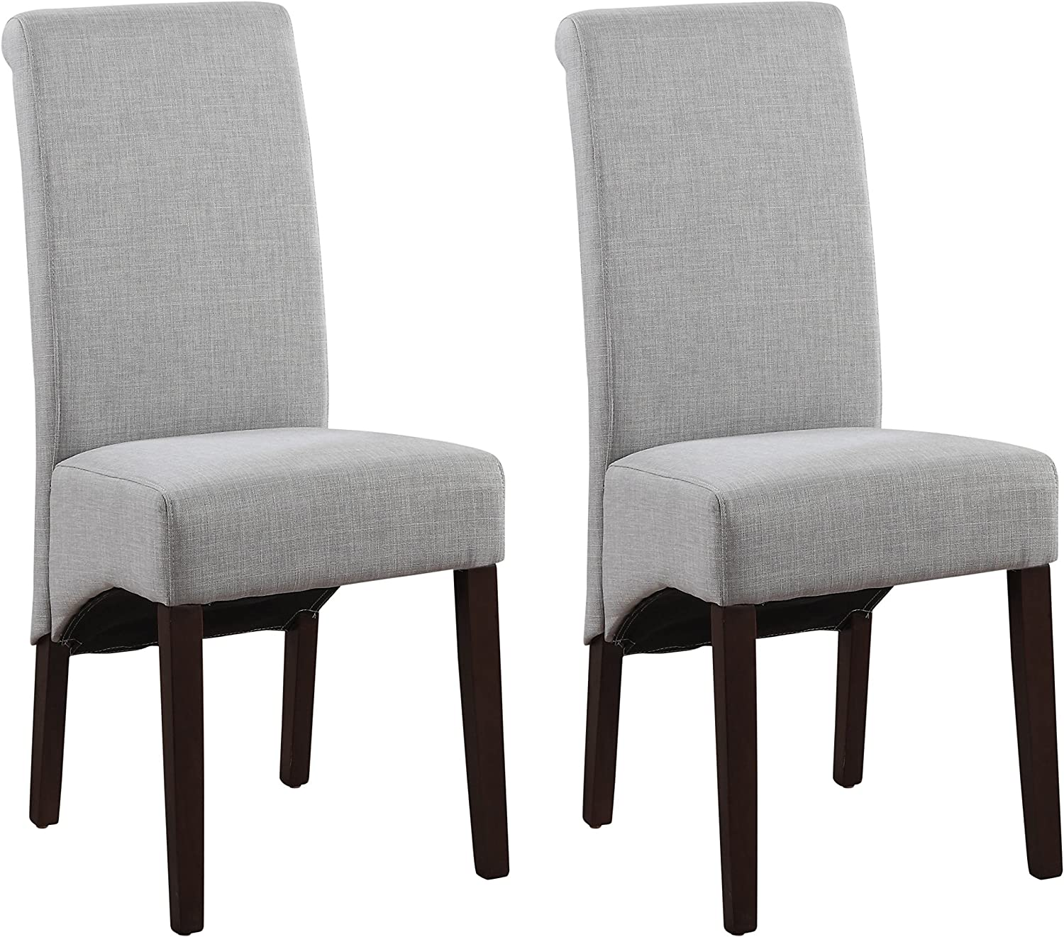 Amazon Com Simplihome Avalon Contemporary Deluxe Parson Dining Chair Set Of 2 In Dove Grey Linen Look Fabric Chairs