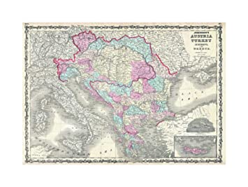 Map Of Italy Greece And Turkey.Amazon Com The Art Stop 1863 Johnson Map Austria Hungary Turkey