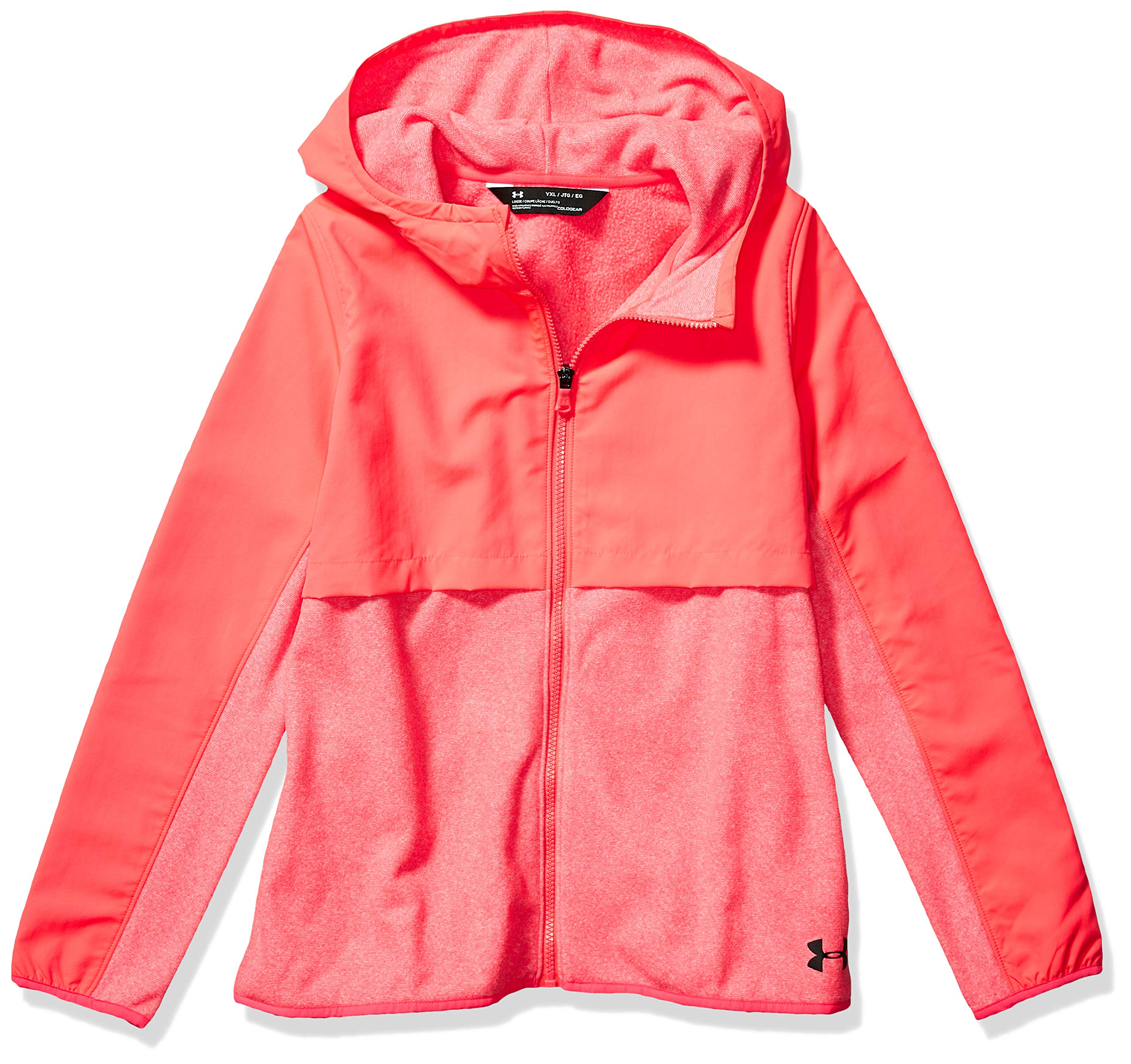 Under Armour Girls Phenom Fleece Full Zip Hoodie, Penta Pink /Black, Youth X-Large by Under Armour