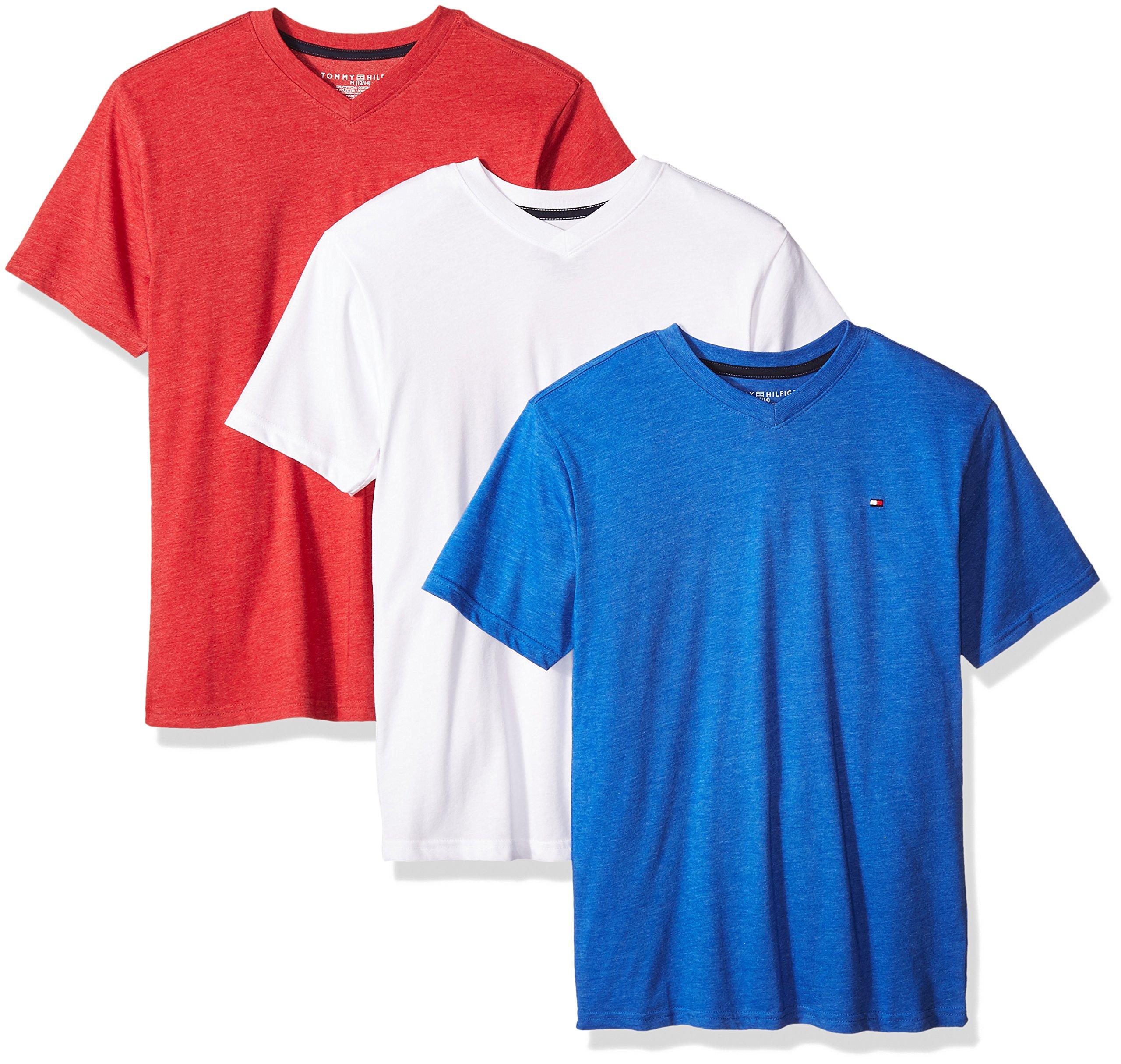 Tommy Hilfiger Big Boys' Core V-Neck Tee 3 Piece Bundle, Blue Jean/Bullseye/White, Large