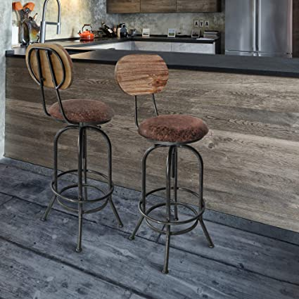 Strange Todays Mentality Adele Industrial Adjustable Barstool Silver Brushed Gray With Brown Fabric Seat And Rustic Pine Back Squirreltailoven Fun Painted Chair Ideas Images Squirreltailovenorg
