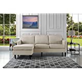 Mid-Century Modern Linen Fabric Sectional Sofa, Reversible L-Shape Couch (Beige)