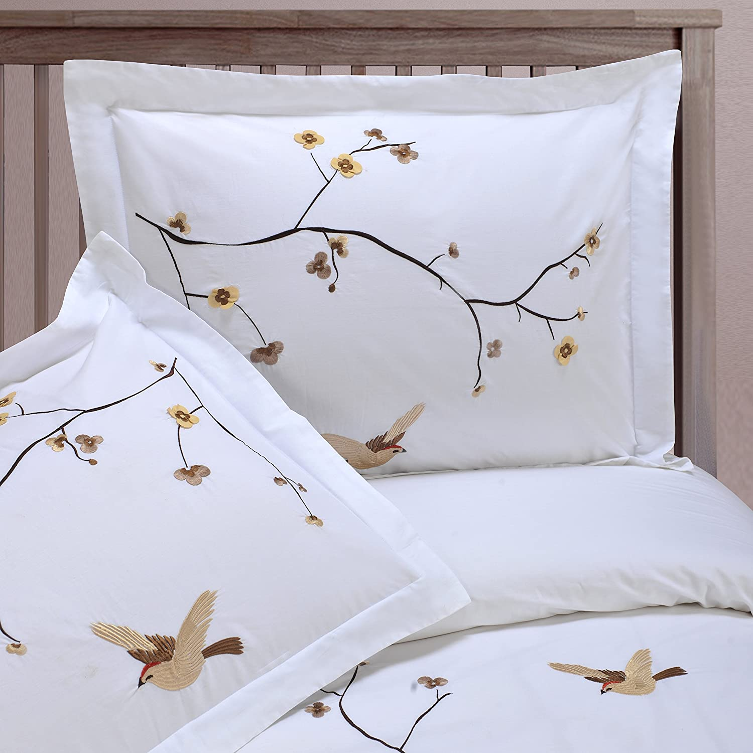 Full//Queen SPRING 3PC FQ Superior 100/% Cotton Percale Embroidered 3-Piece Duvet Cover Set Spring Home City Inc