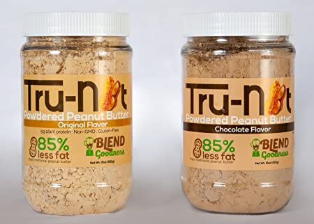 Amazon.com : Tru-Nut Powdered Peanut Butter 1LB Jars (2-Pack), Original & Chocolate : Grocery & Gourmet Food