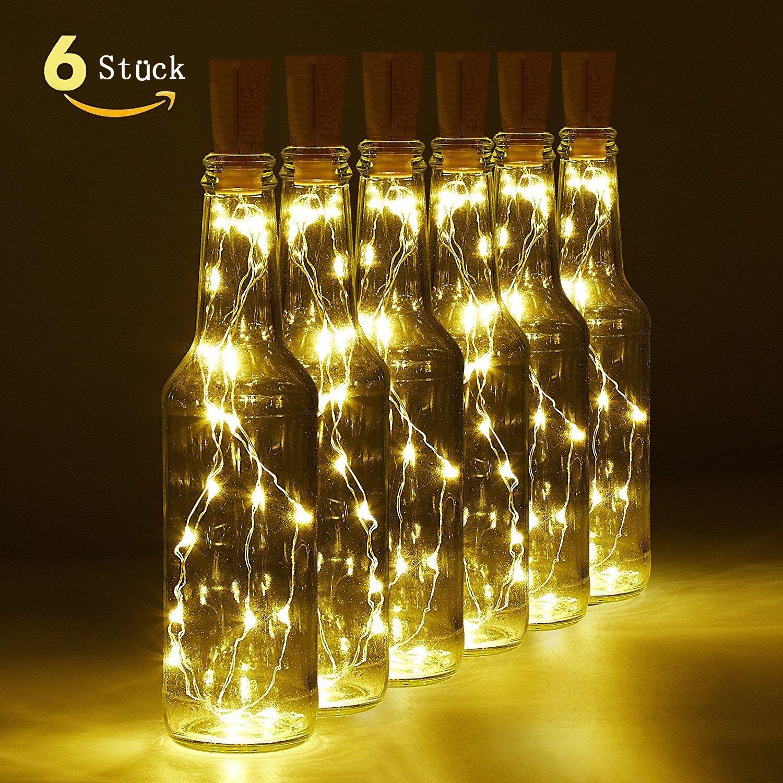 6 Packung Weinflasche Kork Lichterkette, Akku Powered LED ...