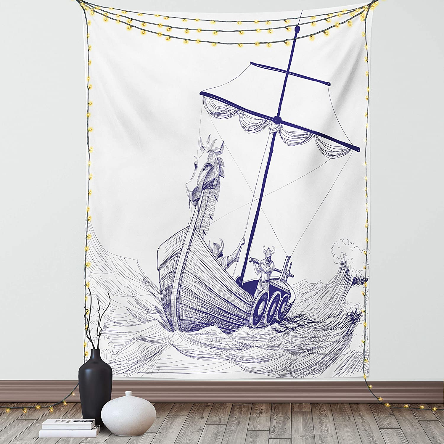 Lunarable Viking Tapestry, Drakkar Long Boat with Dragon on Bow of Ship Monochrome Marine Pattern, Fabric Wall Hanging Decor for Bedroom Living Room Dorm, 30