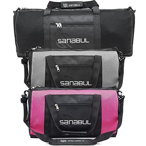 1a0fd8ab7fd9 Image Unavailable. Image not available for. Color  Sanabul New Item  Ventilated Mesh Duffel Gym Bag (Fire Pink ...