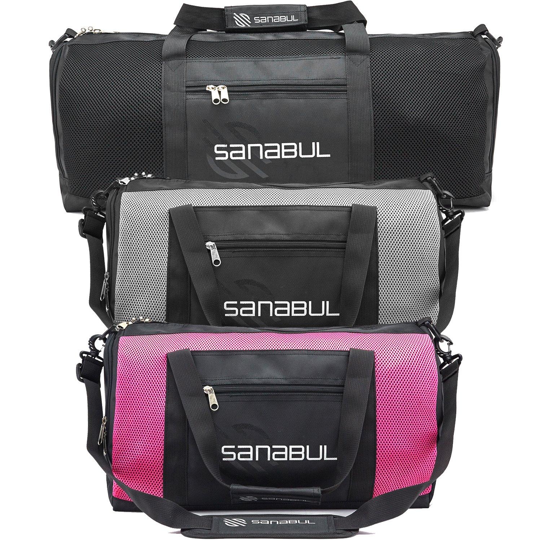 Sanabul New Item Ventilated Mesh Duffel Gym Bag (Fire Pink, Standard - 18'')
