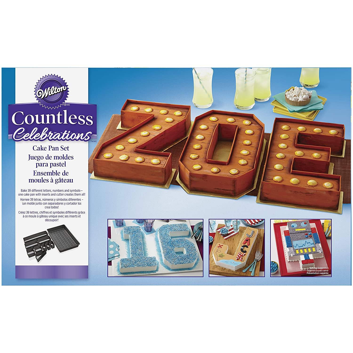 Wilton Countless Celebrations Cake Pan Set, 10-Piece Letter and Number Cake Pan 2105-0801