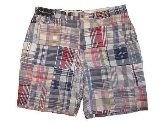 bde98f1d988e RALPH LAUREN Polo Mens Weathered Madras Plaid Patchwork Shorts (36 ...