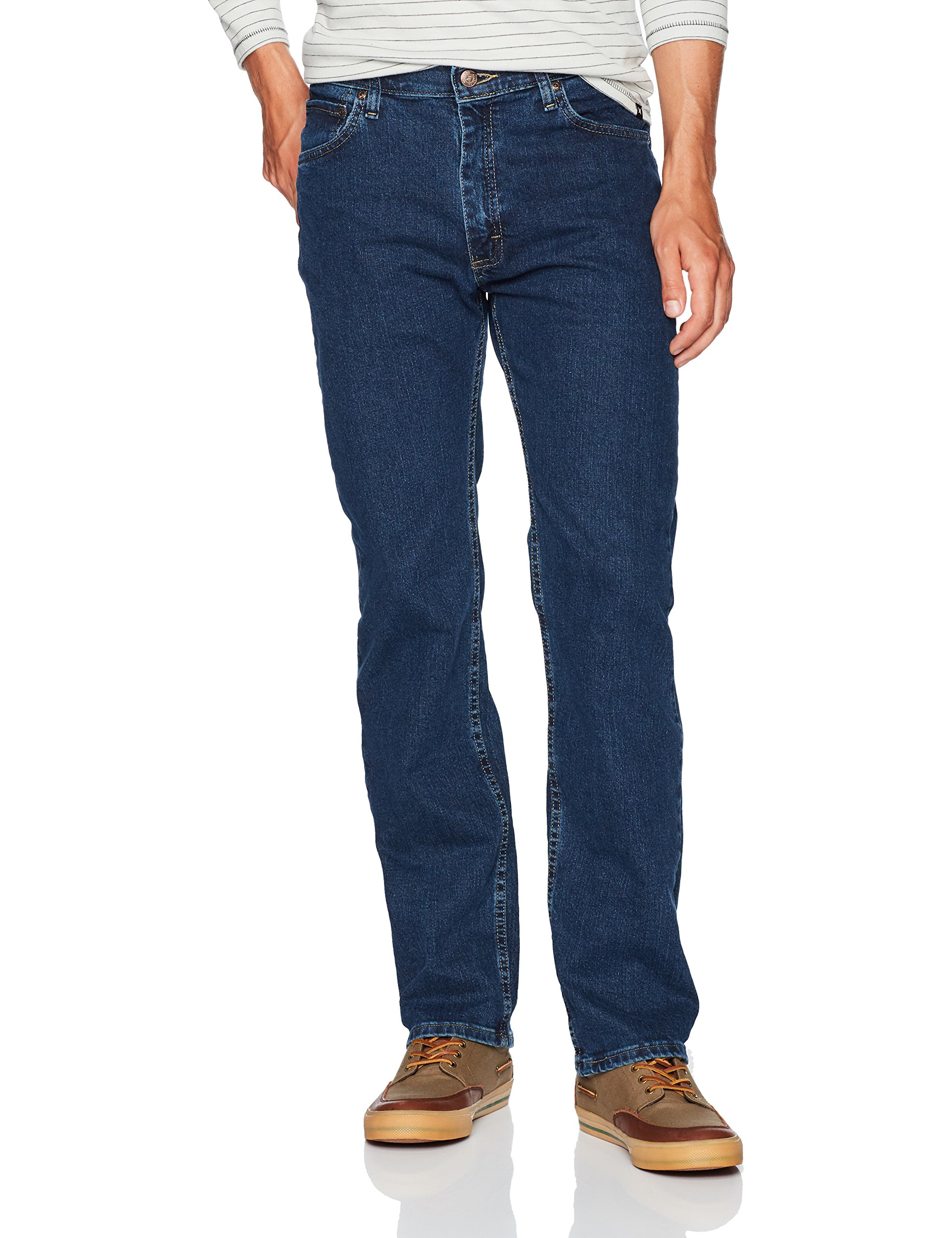 Wrangler Men's Regular Fit Comfort Flex Waist Jean, Dark Stonewash, 38X32 by Wrangler