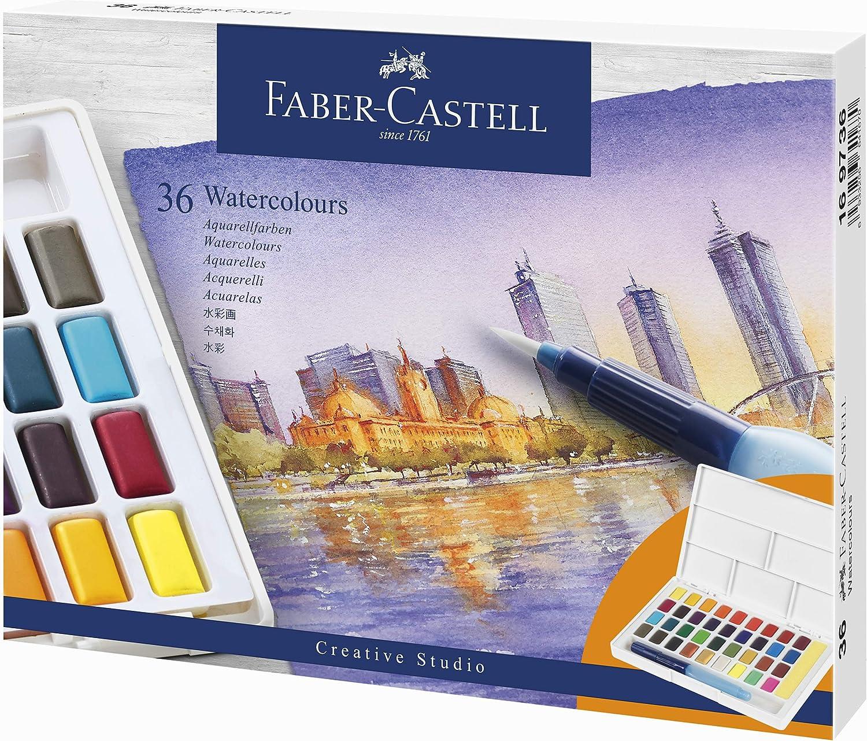 Faber Castell 36 colores de acuarela, incluye pincel para depósito de agua: Amazon.es: Oficina y papelería