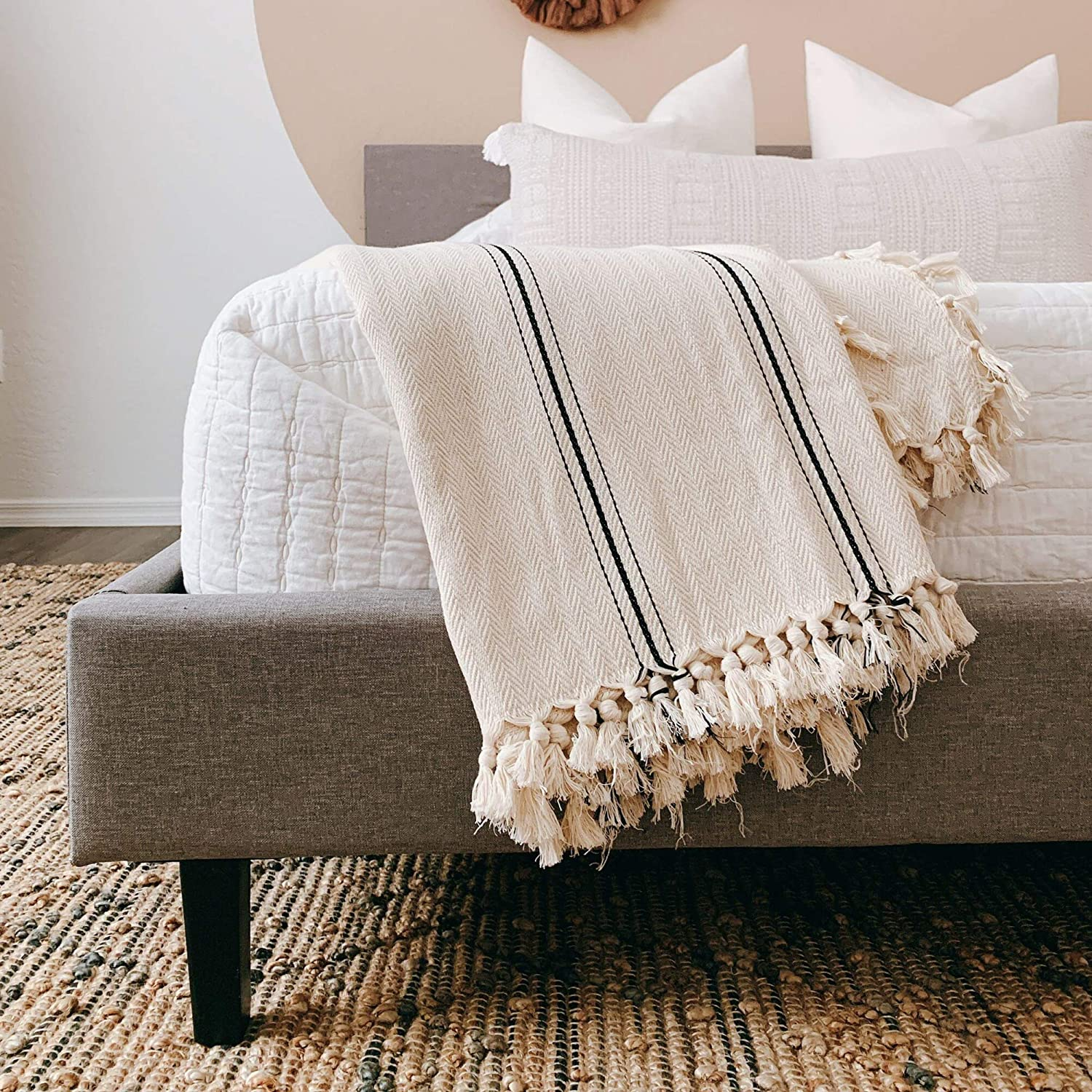 Striped Turkish blanket is perfect for French country, French farmhouse, and modern farmhouse spaces!