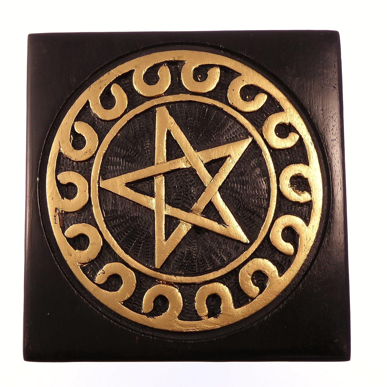 PEQUEÑO NEGRO Pentagrama Ritual Altar MESA Pagano Wiccan REGALO 6