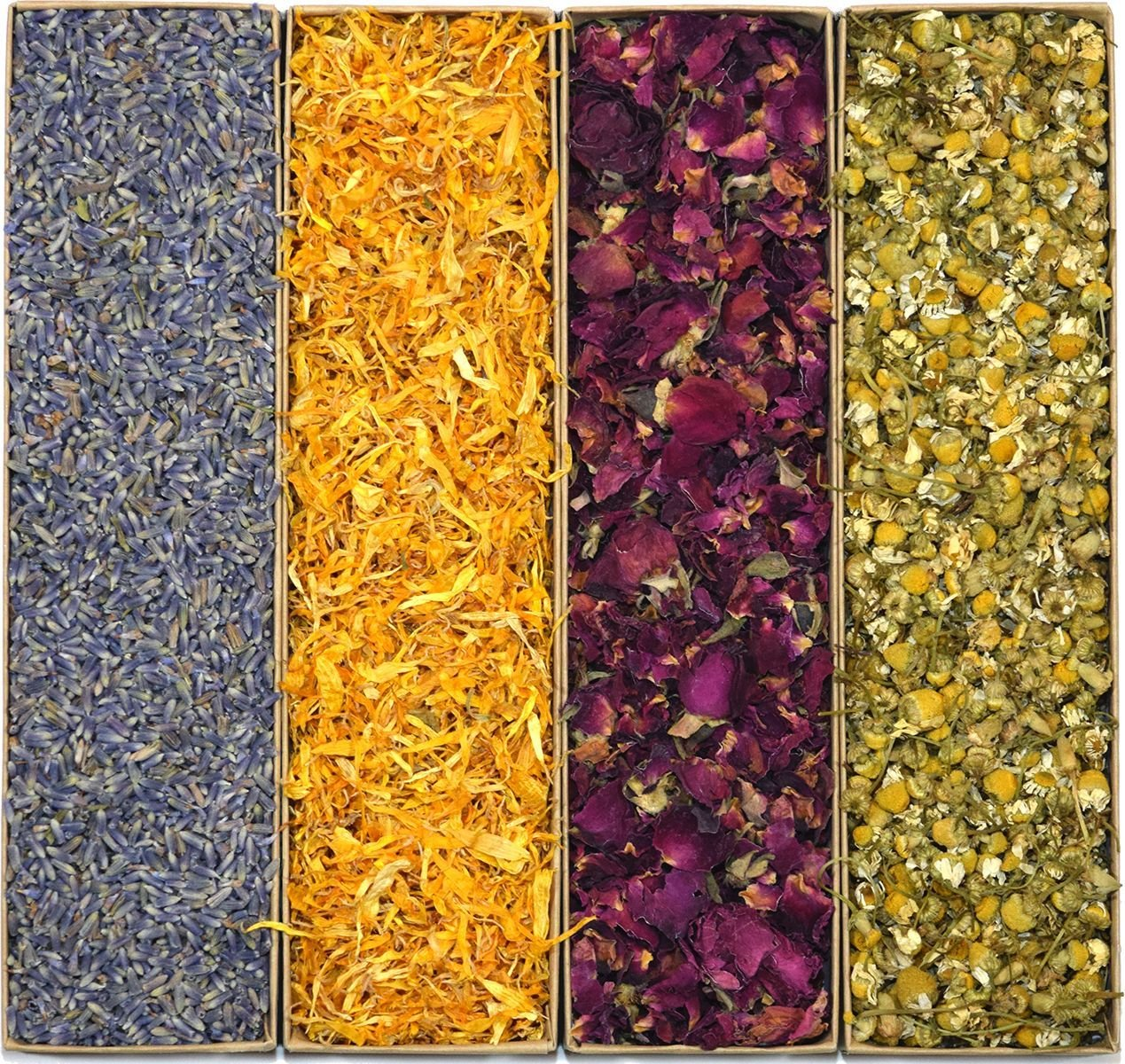 Large Botanical Flower Kit: Flower Petals and Buds. Craft Kit includes Lavender, Calendula, Rose, and Chamomile, 2 Cups Each! Perfect For All Kinds of Crafts! by Country Meadow Ltd (Image #1)