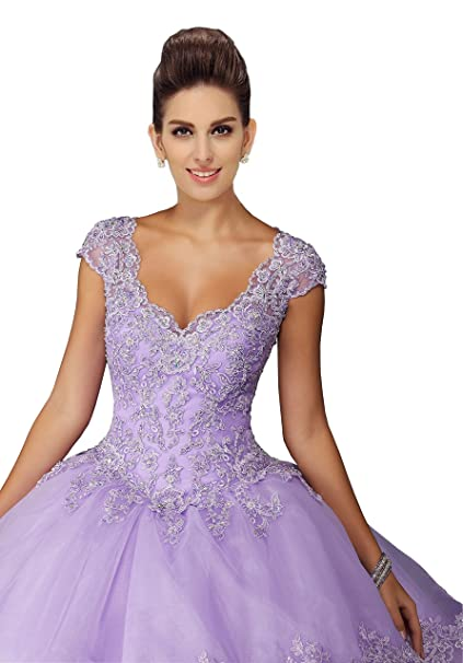 f63693ed26d Lace Beads Rufflers Prom Quinceaner Dresses Organza Sweetheart Short Sleeve Open  Back Ball Gowns Party 2019 at Amazon Women s Clothing store
