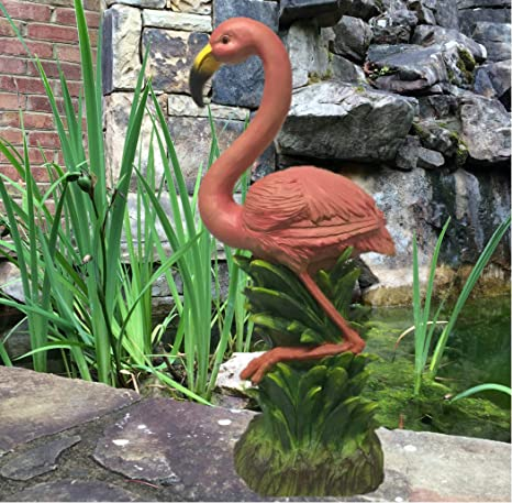 "FUN Beach Theme Metal Wobble Flamingo Figurine 21/"" Tall Female"