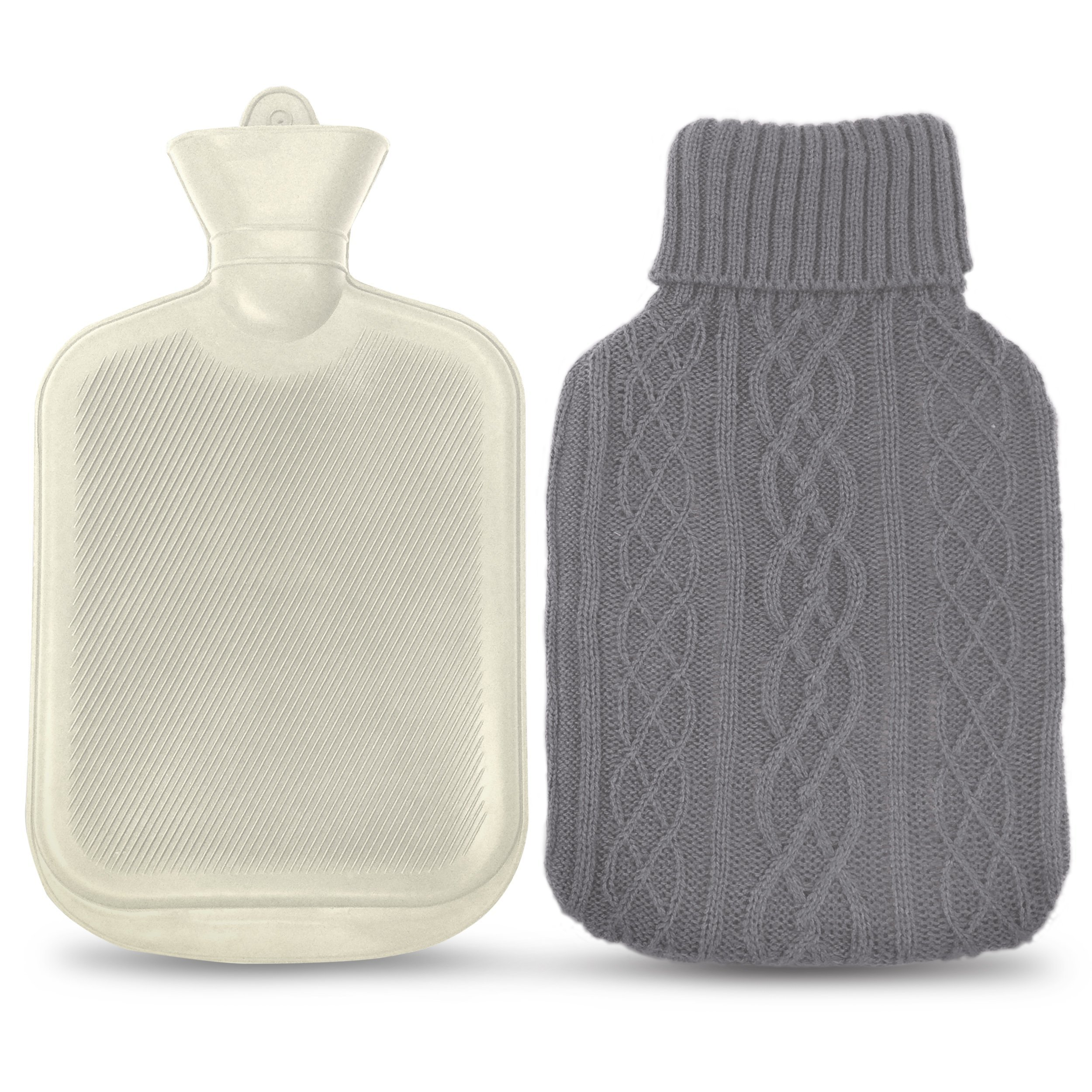Amazon azmed classic hot water bottle made of premium rubber azmed classic rubber hot water bottle with knitted grey cover 2 liters white bankloansurffo Choice Image