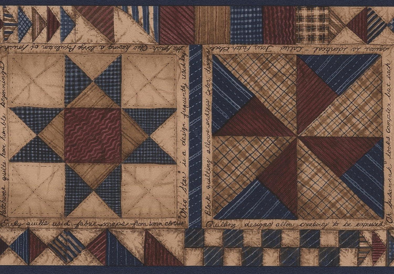 Beige Azul Marró n Abstract cenefa diseñ o geomé trico, rollo 15 'X 5.5' rollo 15X 5.5 Chesapeake