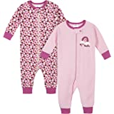 Gerber Baby-Girls 2-Pack Thermal Unionsuit Long Sleeve Sleepers - Pink