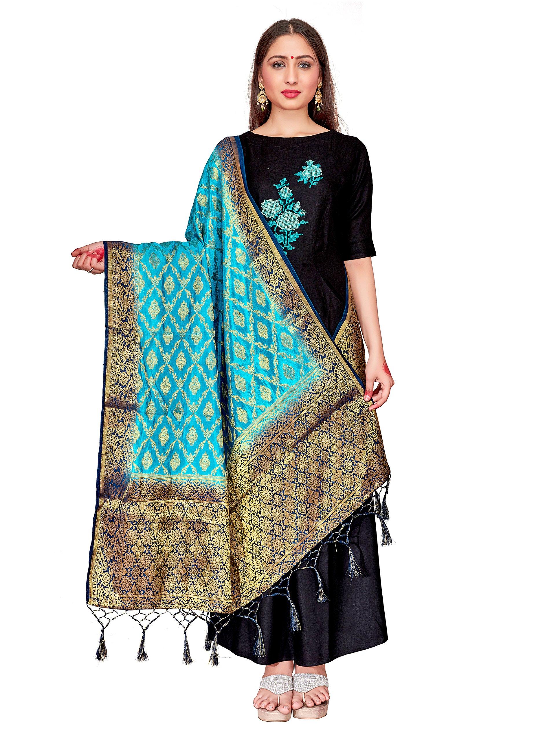ELINA FASHION Women's Zari Work Indian Banarasi Art Silk Woven Only Dupatta for Dress Material & Salwar Suit (Blue)